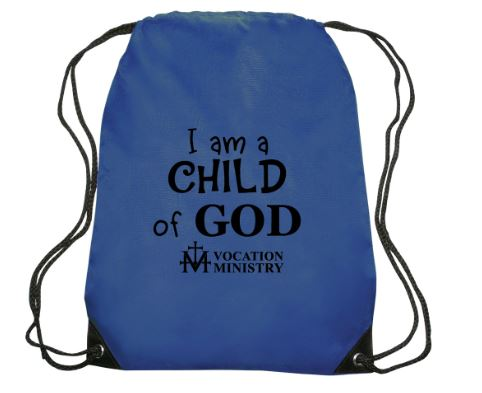 Blue drawstring backpack with text that says I am a child of God.