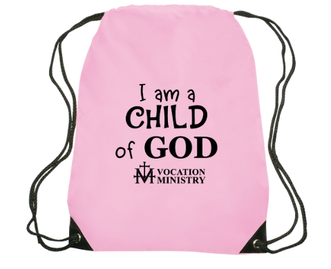 Pink Drawstring Backpack with text that reads I am a Child of God.