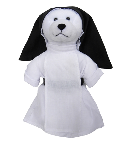 White plush bear wearing a white nun's habit and black veil.