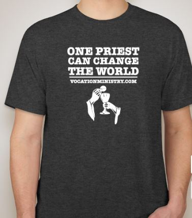 Black te shirt with white text that reads One Priest Can Change the World.