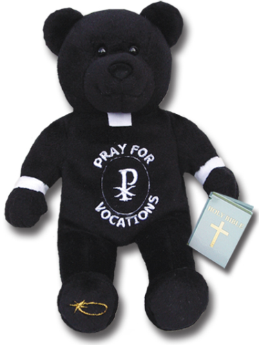 Black plush bear in priest vestment that states Pray for Vocations. Bear is holding a blue bible.
