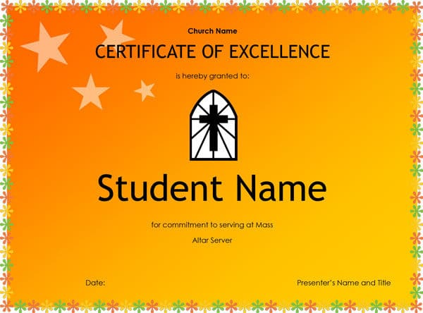 Altar Server Certificate of Excellence