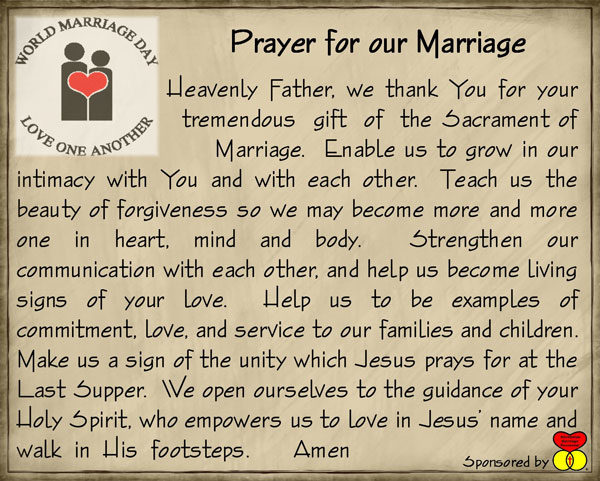 Prayer for our marriage card.