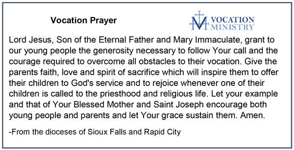 Vocation Prayer from Sioux Falls and Rapid City