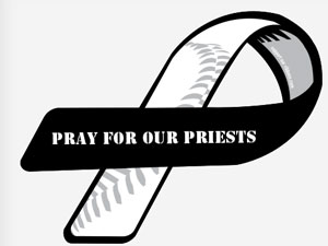 Pray for our priests ribbon bumpersticker.
