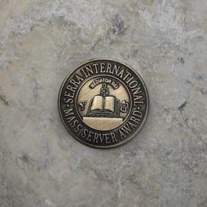 pin with text that reads serra international mass server award.