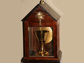 chalice in a wooden box.