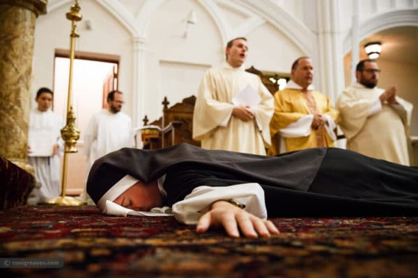During her Solemn Profession ceremony, 28-year-old Sister Maria Teresa prostrates, symbolizing her complete submission to God.