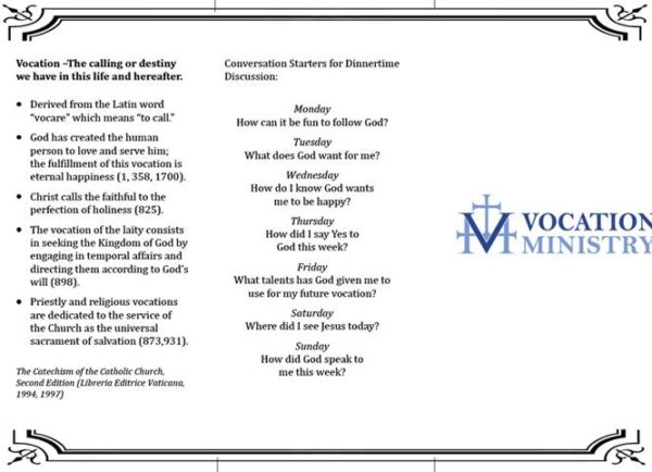 Vocation Ministry Table Tent.