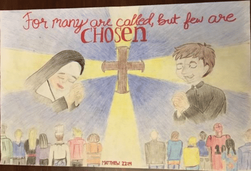 Poster of Nun & Priest drawn by child